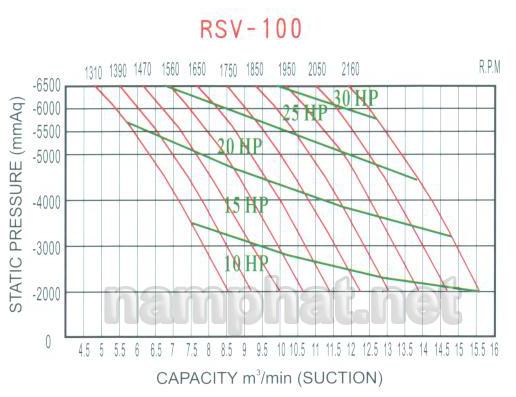 Đường đặc tính máy hút chân không RSV-100
